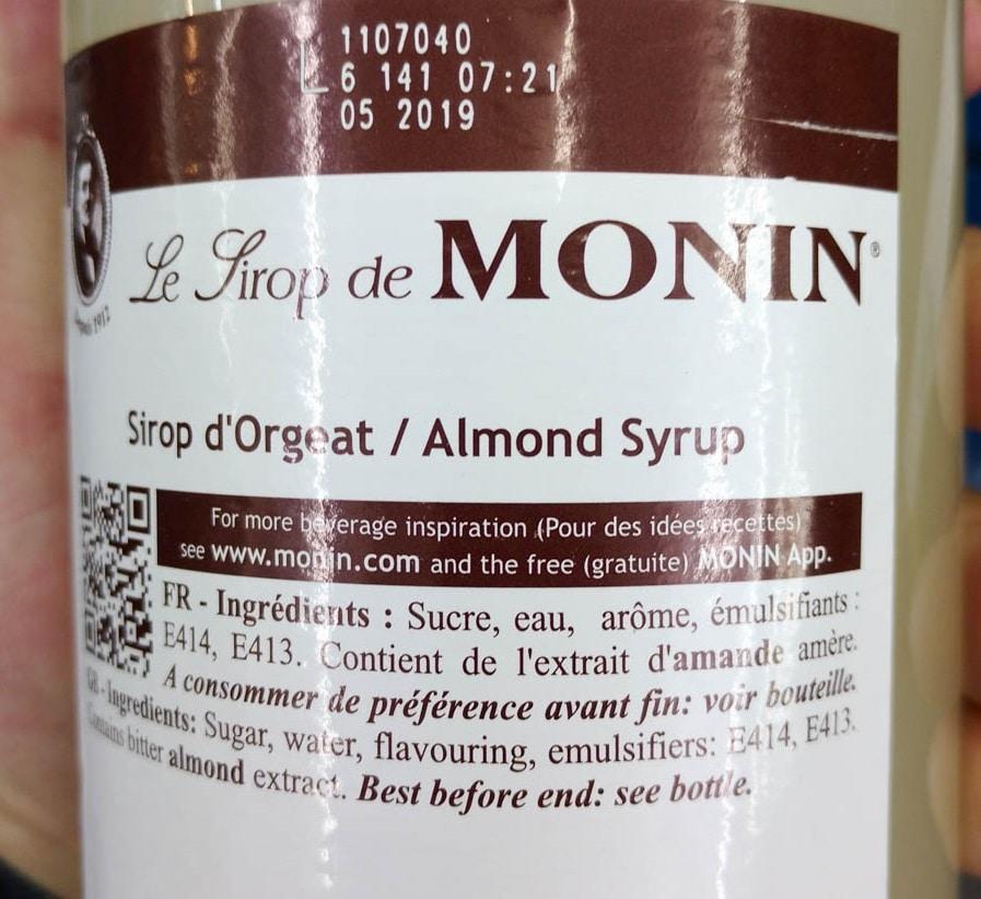 Liste d'ingredients du sirop d'orgeat monin