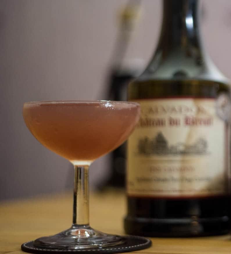 Jack Rose cocktail réalisé au chateau du breuil fine calvados