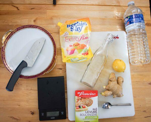 Ingrédients recette de ginger beer, soda au gingembre
