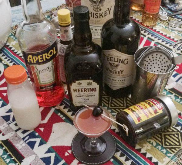 Tous les ingrédients pour le Irish mermaid cocktail de Max la Rocca, avec teeling whiskey et aperol