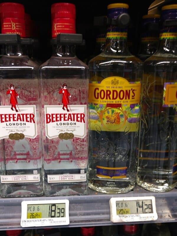 prix des bouteilles de beefeater et gordons gin au monoprix paris