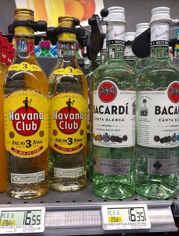 prix des bouteilles de havana club et bacardi au monoprix paris