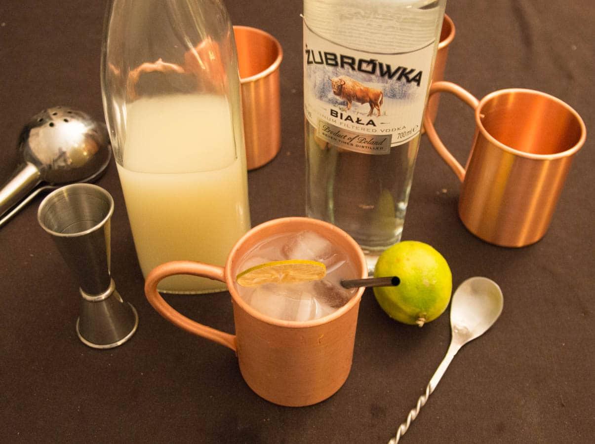 Vodka et ginger beer dans le moscow mule cocktail