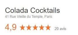 Nos avis google très bons pour nos prestations cocktail teambuilding mixologie Colada Cocktails