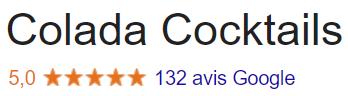 Nos avis vérifiés Google pour les services Colada cocktails
