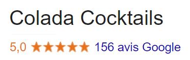 Nos 150 avis vérifiés Google à 5 étoilespour les services Colada cocktails