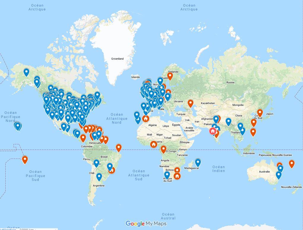 Carte mondiale de la lutte des distillateurs contre Covid19