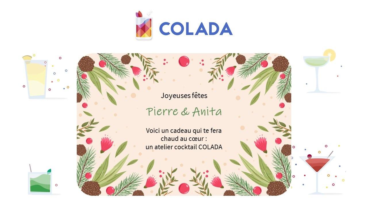 Carte cadeau atelier cocktail colada noel